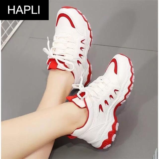 Hình ảnh Giày sneaker chim én đế chống trơn HAPLI (Trắng phối đỏ, Trắng phối đen, Đen)