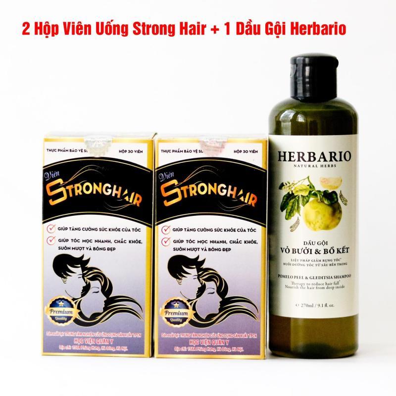 (Liệu Trình Chăm Tóc) 1 Dầu Gội Herbario + 2 Viên Uống Mọc Tóc Strong Hair Học Viện Quân Y cao cấp