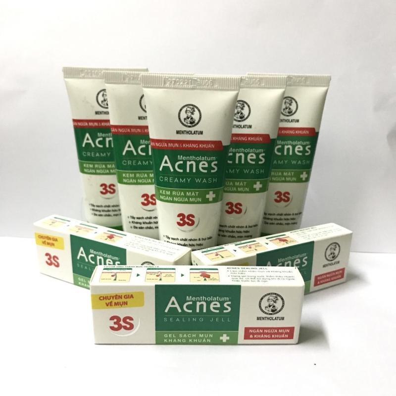 trọn bộ 10 món : 5 tuýt sữa rửa mặt Acnes 25g/tuýt + 5 gell ngừa mụn và kháng khuẩn 2g/tuýt + tặng 1 túi đựng mỹ phẩm nhập khẩu