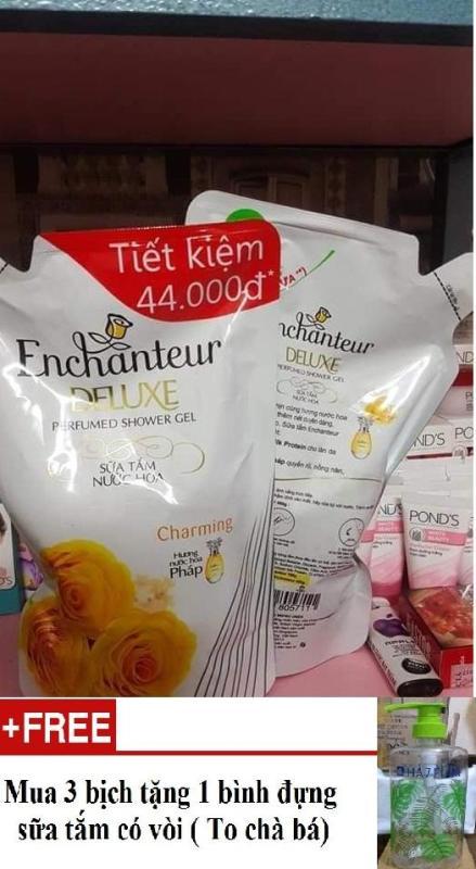 Sữa Tắm Trắng Và Dưỡng Ẩm Enchanteur Charming 450g (Tặng 1 bình đựng khi mua 3 bịch) nhập khẩu