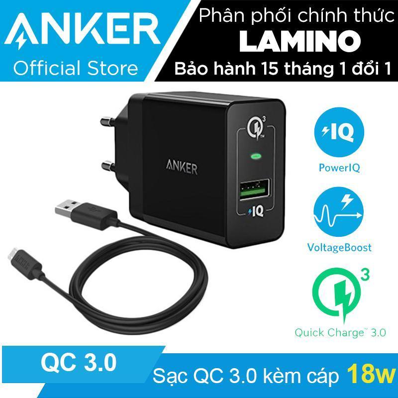 Giá Sạc ANKER PowerPort+ 1 cổng 18w Quick Charge 3.0 có PowerIQ kèm cáp MicroUSB dài 0.9m