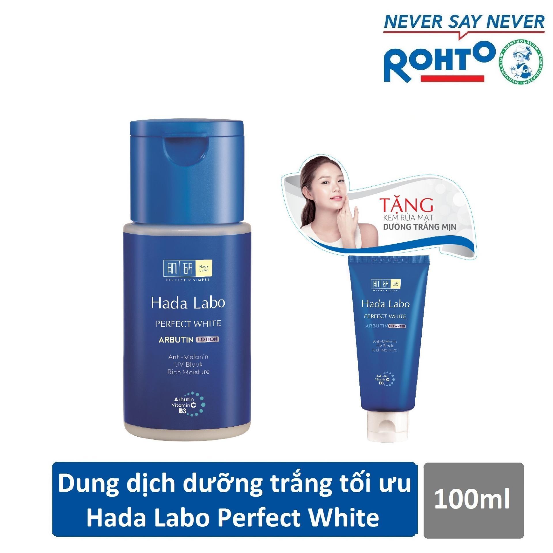 Dung dịch dưỡng trắng da tối ưu Hada Labo Perfect White Lotion 100ml + Tặng Kem rửa mặt Hada Labo 25g