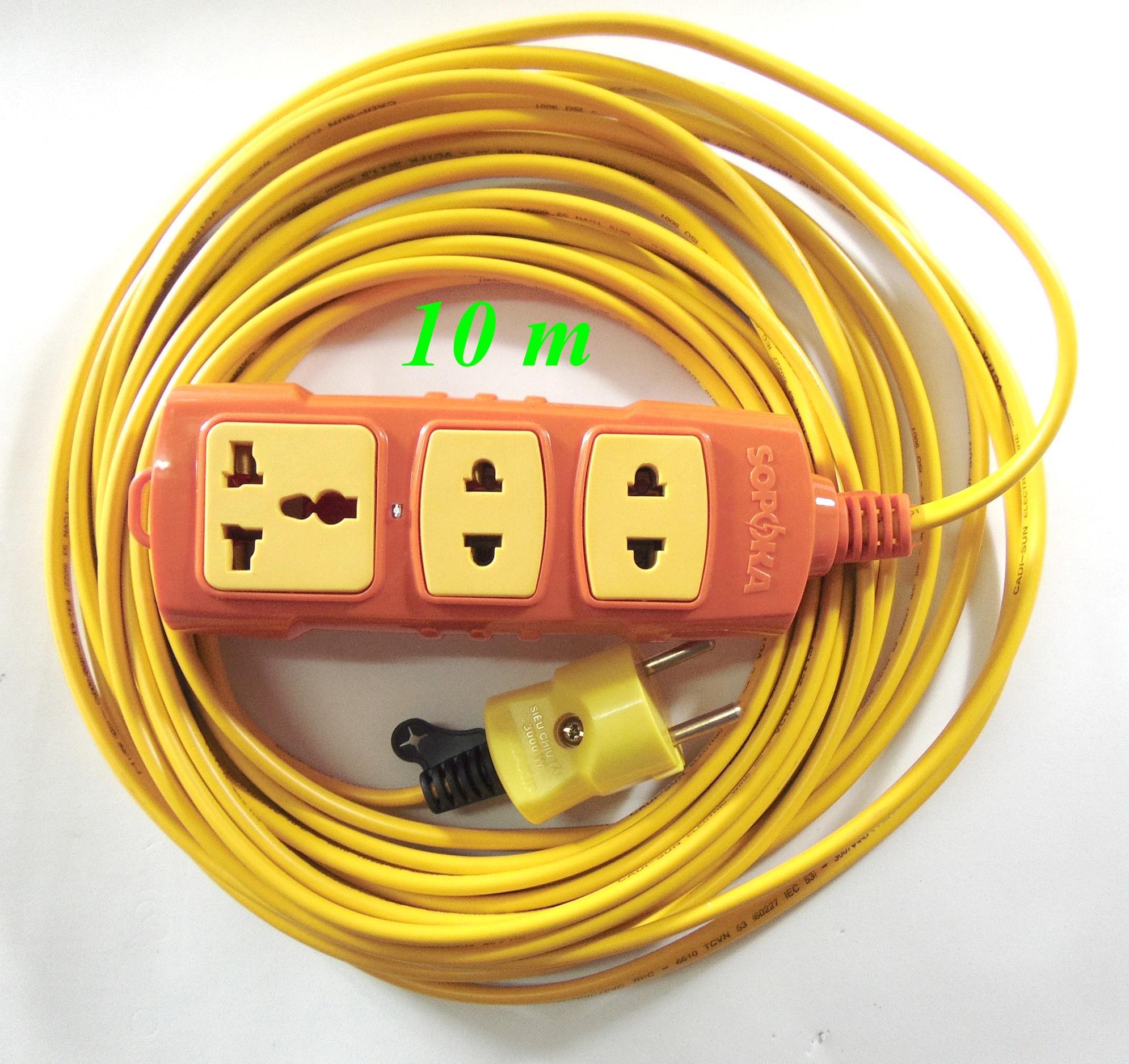 Bộ ổ cắm điện Sopoka chịu tải P6000W và 10m dây điện (Vàng)