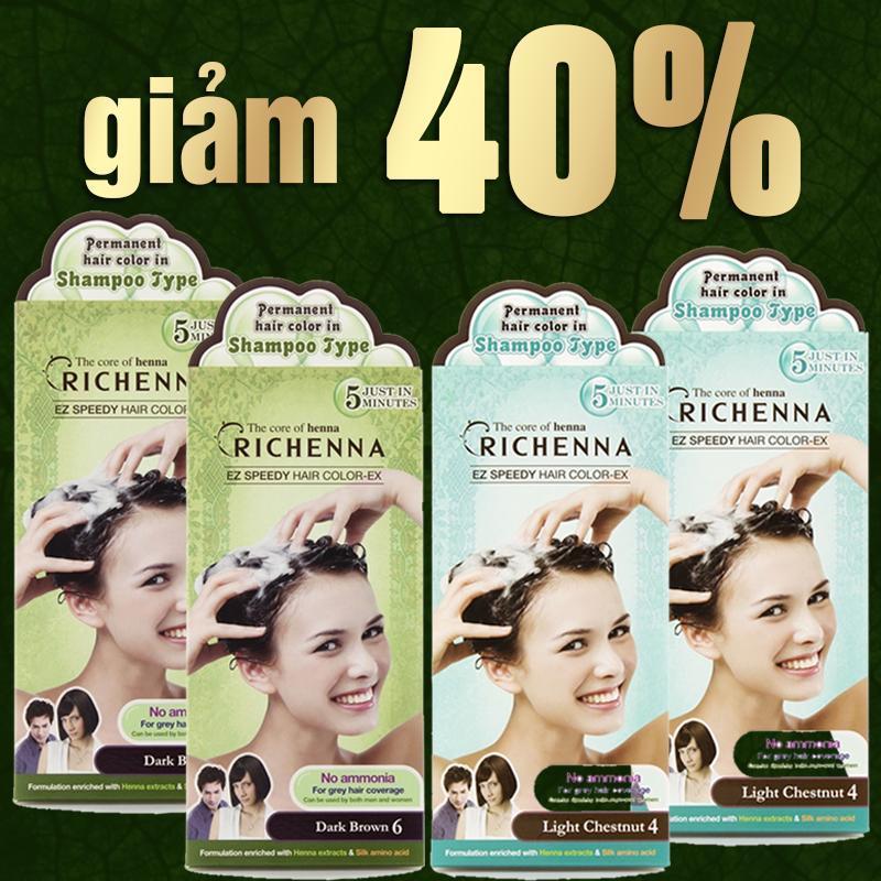 Bộ 4 hộp thuốc nhuộm tóc bạc dạng gội RICHENNA Hàn Quốc 2 màu nhập khẩu