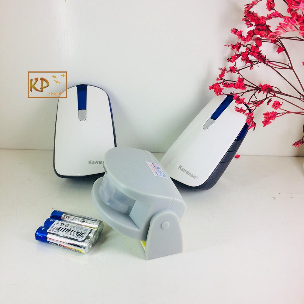 Chuông báo khách không dây, báo động chống trộm cảm ứng không dây cao cấp 1 mắt cảm ứng 2 chuông báo (2 vị trí chuông) kawa i618-B8
