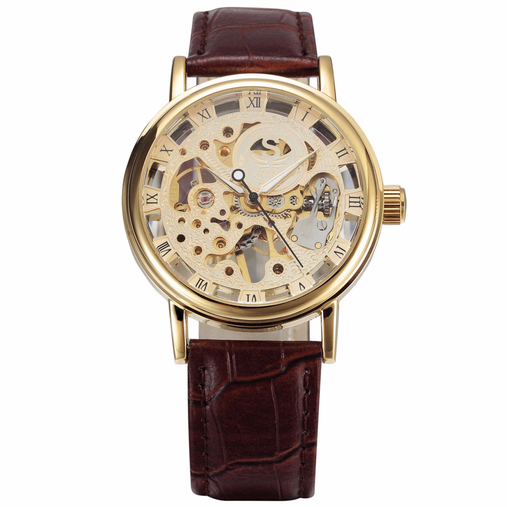 Đồng hồ nam SEWOR cơ dây da lộ máy lịch lãm sang trọng JS-SQ605 bán chạy