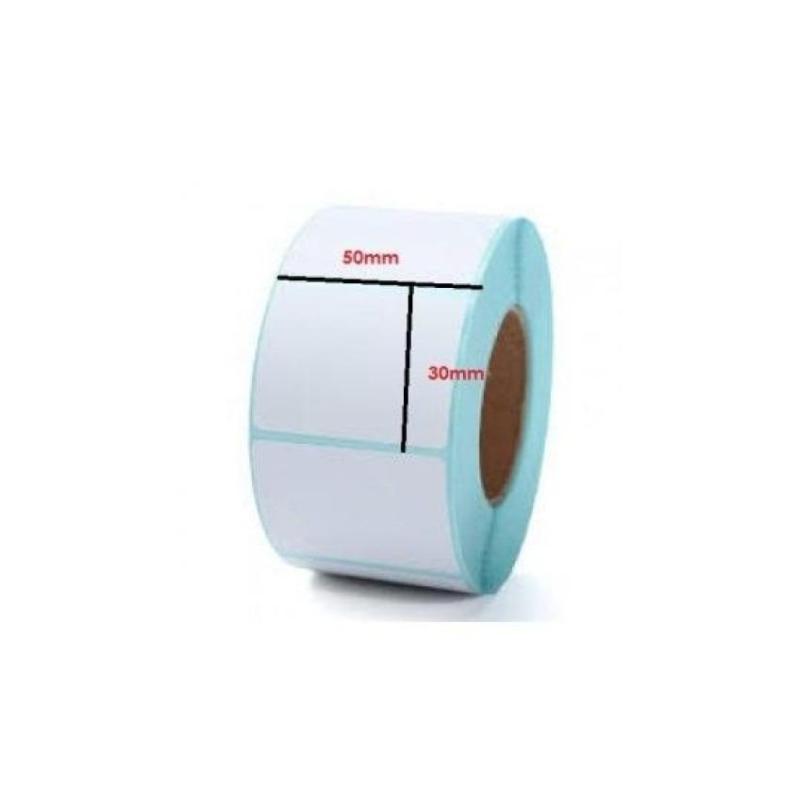 10 cuộn tem dán cốc trà sữa BS5030 khổ 50mm x 30mm x 30m (thích hợp với phần mềm iPOS.. mọi máy in mã vạch)