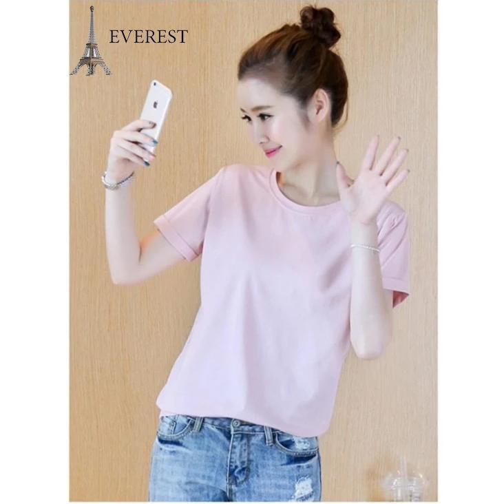 Áo thun trơn nữ form rộng phong cách hàn quốc vải dày mịn Everest E4 (Hồng phấn)
