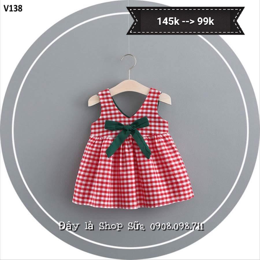 Giá bán Váy đỏ sọc caro cộc tay