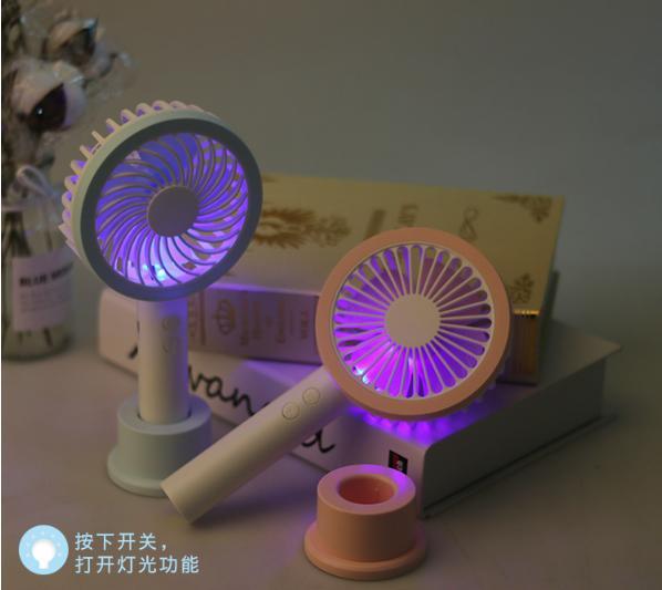 Hình ảnh Quạt Cầm Tay Mini Đèn Led 4 Cánh Pin Sạc Có Đế