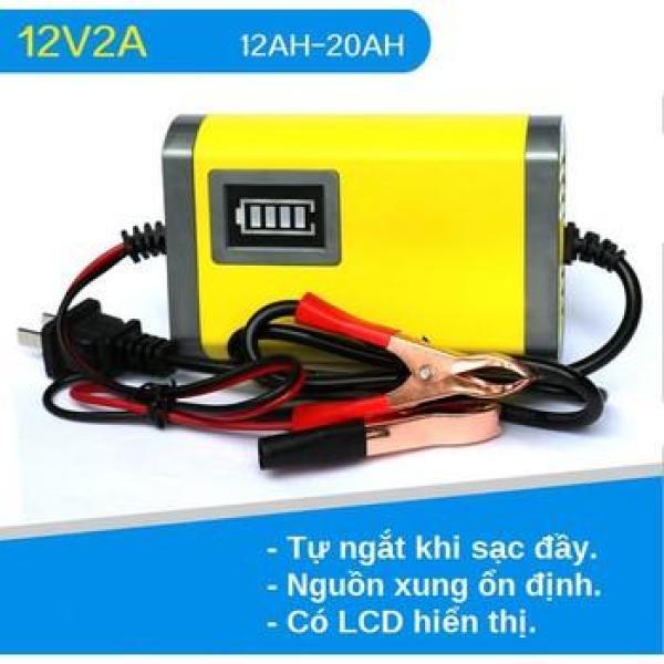 Sạc bình ắc quy 12V/2A thông minh tự ngắt cho ô tô, xe máy (Vàng)