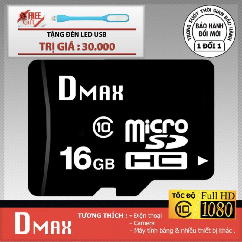 Thẻ nhớ 16GB Dmax Micro SDHC class 10 - Bảo hành 5 năm+Tặng đèn led
