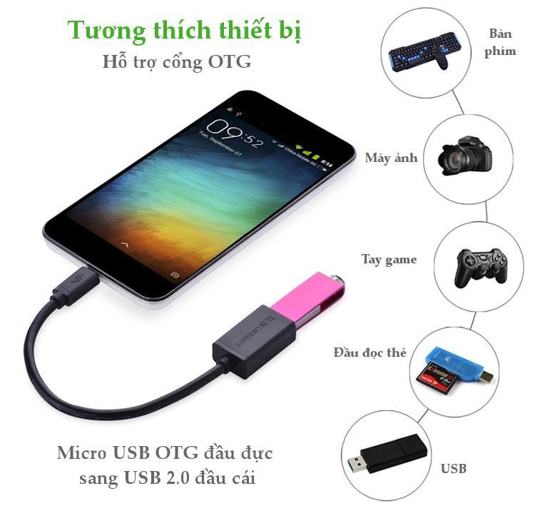Dây Micro USB 2.0 OTG dạng tròn dài 12cm UGREEN US133