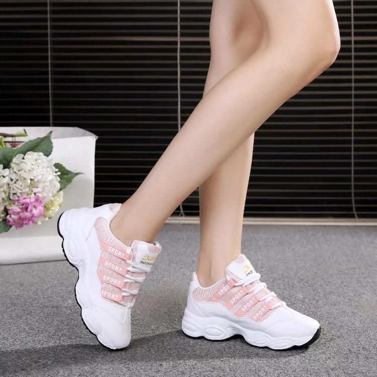 (VIDEO thực tế) Giày sneaker nữ HOT TREND chữ SPORT HAPLI (đen, hồng)