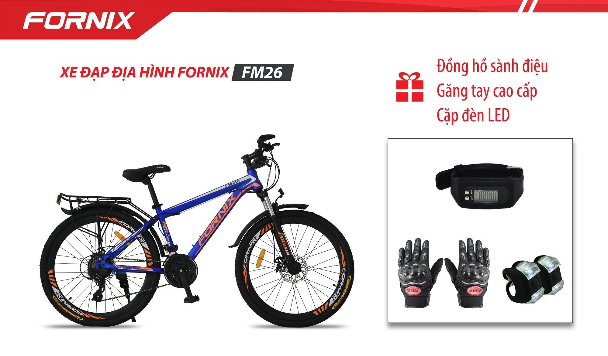 Xe đạp địa hình thể thao Fornix FM26 + (Gift) Cặp đèn LED, Găng tay, Đồng hồ Đo Bước Đi