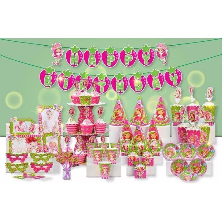 Hình ảnh set trang trí bàn tiệc chủ đề cô bé dâu tây