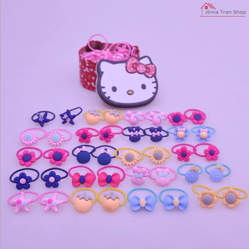 Giá bán Hộp 50 dây buộc tóc cao cấp cho bé phong cách Hàn Quốc (hồng)