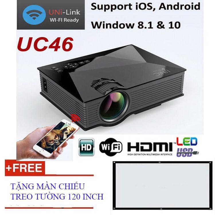 Máy chiếu không dây mini Unic UC46 Wifi + Tặng màn chiếu treo tường 120 inch