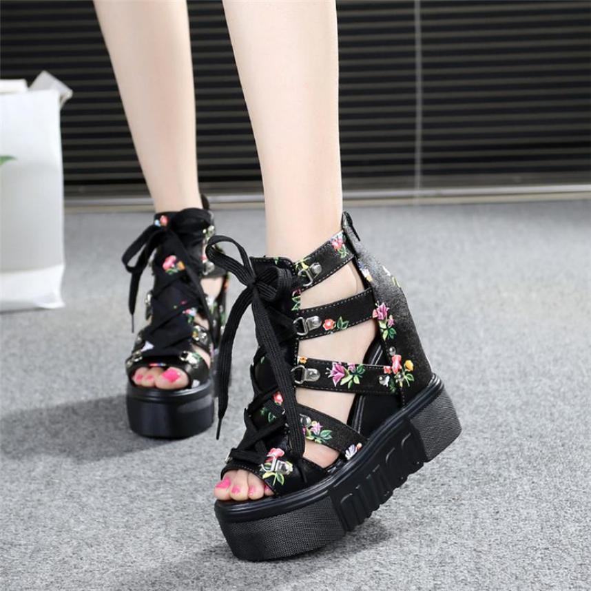 Giày Sandal hoa đế xuồng cao 11cm phong cách Hàn Quốc S087D (Đen) giá rẻ