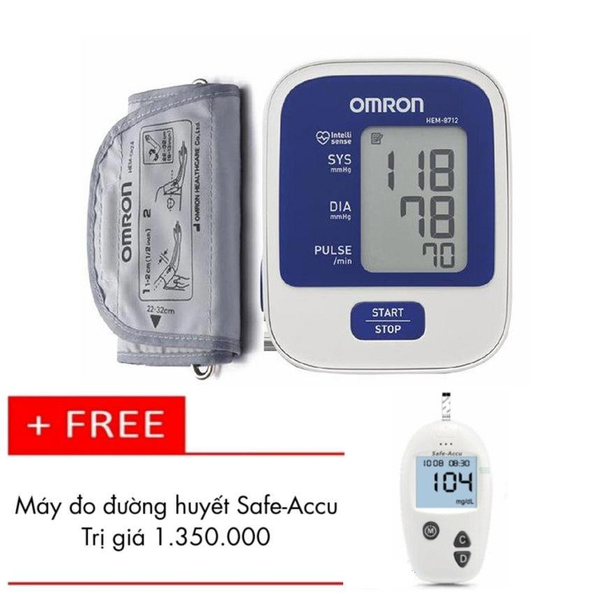 Hình ảnh Máy đo huyết áp bắp tay Omron HEM-8712 (Trắng phối xanh) + Tặng Máy đo đường huyết Safe-Accu