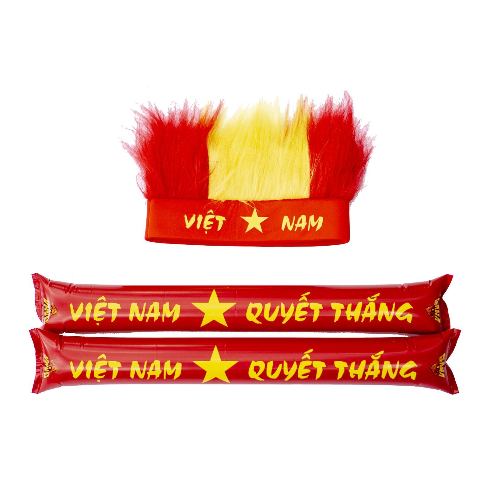Hình ảnh Set Đồ Cổ Vũ Thể Thao Việt Nam - 1 Mũ Lông + 2 Gậy Đập