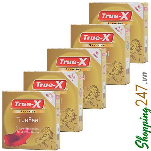 Bộ 5 hộp bao cao su True-X True Feel (Vàng)