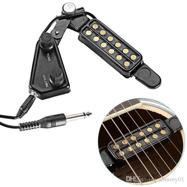 Pickup đàn guitar (bộ khuếch đại âm thanh không cần khoan thùng đàn) màu đen