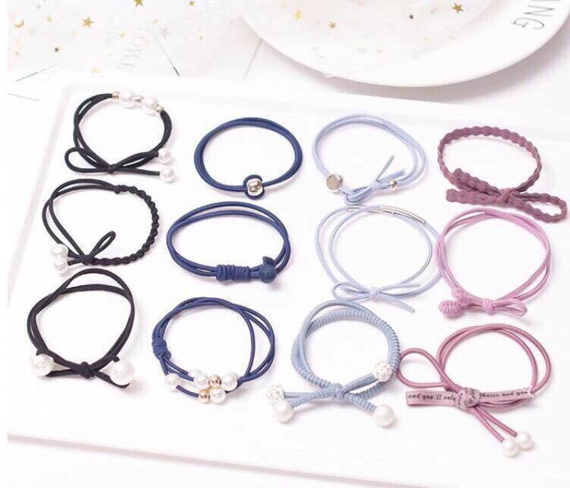 Set 12 dây buộc tóc đơn giản Hàn Quốc cao cấp