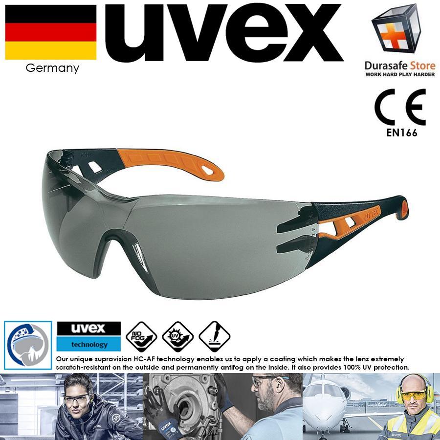 KÍNH UVEX 9192245 Pheos Safety Glasses Black/Orange Frame Grey Supravision HC-AF Len (tặng kèm hộp đựng kính)
