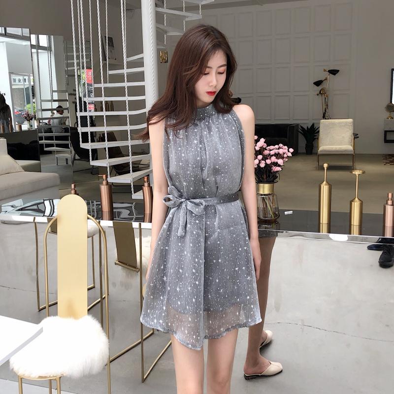 Nơi bán Váy đầm chữ A xòe sát nách thắt đai eo họa tiết ngôi sao hẹn hò dự tiệc công sở đi làm siêu xinh phong cách Hàn Quốc DN154 Letter A