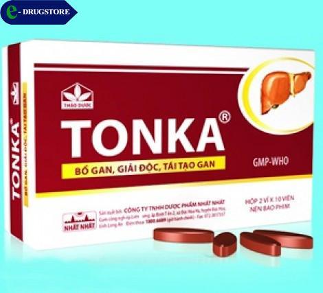TONKA (Bổ gan, giải độc, tái tạo gan). Hộp 2 vỉ x 10 viên nén bao phim