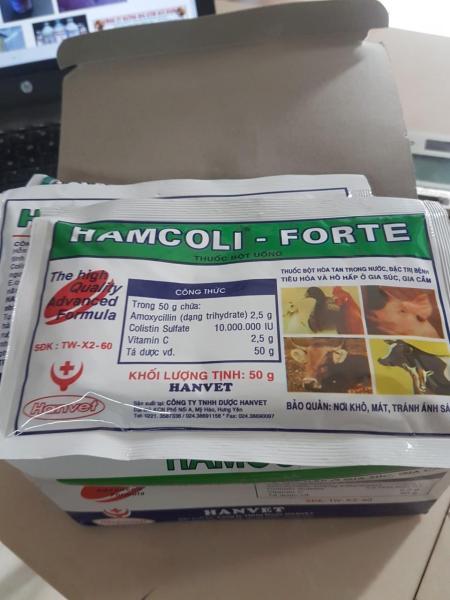 10 gói hamcoli-forte 50gr (công ty cổ phần thuốc thú y hanvet)