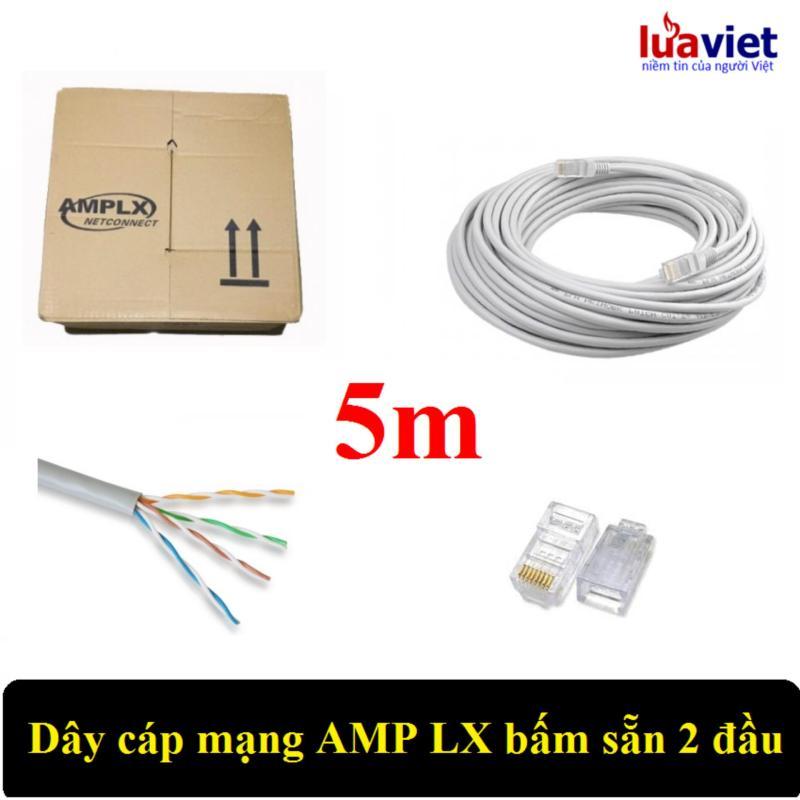 Bảng giá Dây cáp mạng AMPLX 2 đầu chống nhiễu CAT5E 5m (Trắng) Phong Vũ