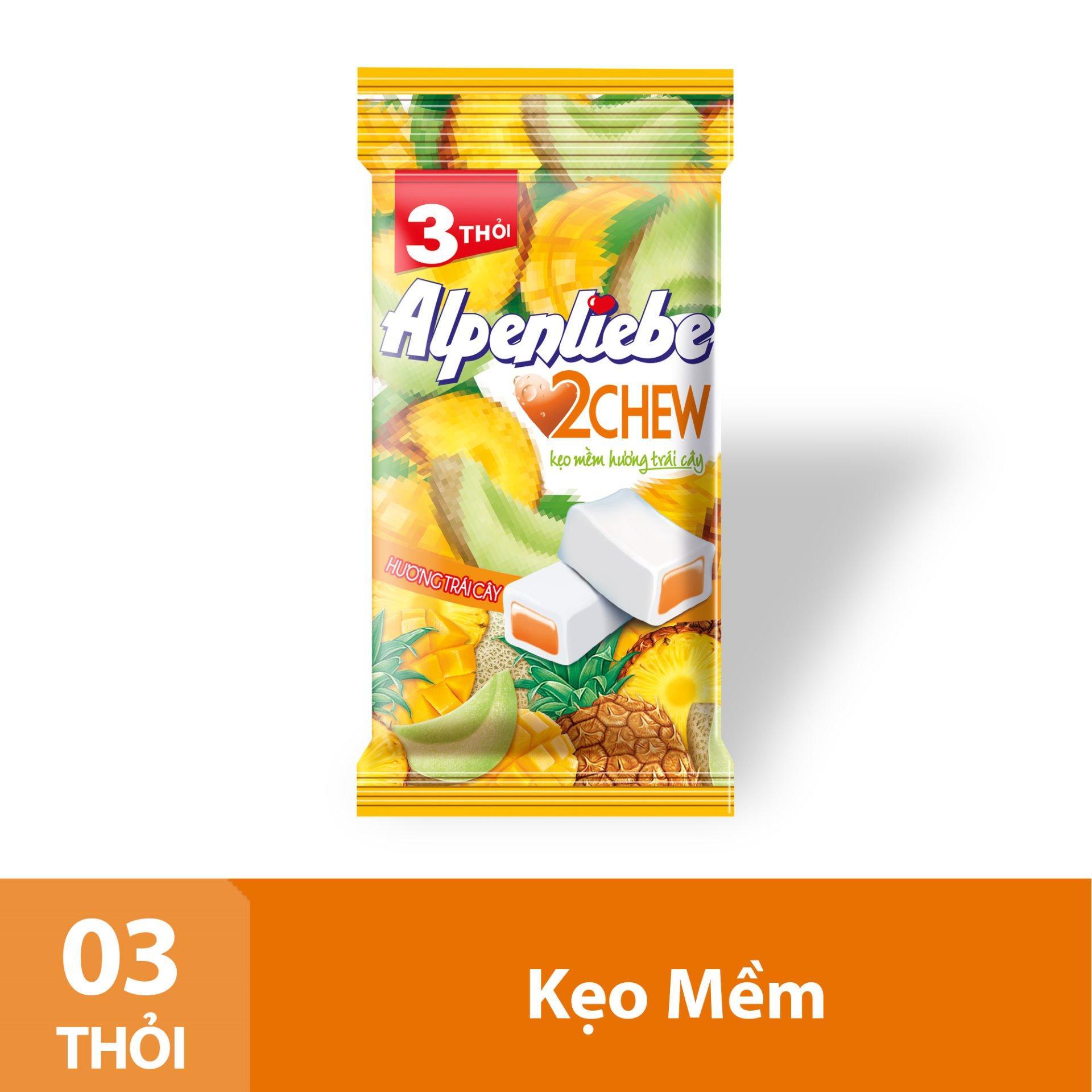 Kẹo Mềm Alpenliebe 2Chew Hương Trái Cây Gói 3 Thỏi Nhật Bản
