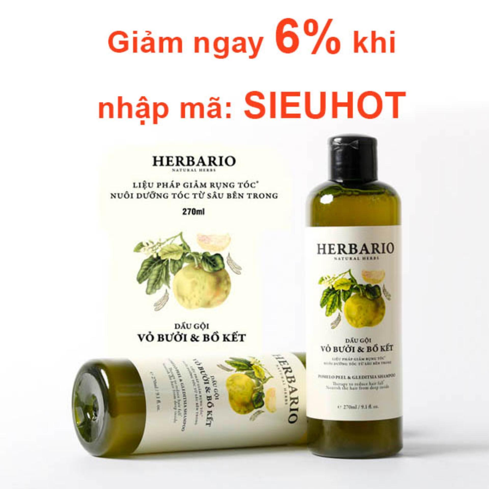 Hình ảnh Dầu Gội Vỏ Bưởi Bồ Kết HERBARIO trị rụng tóc, phục hồi tóc, giúp tóc khỏe mạnh mềm mượt 270ml