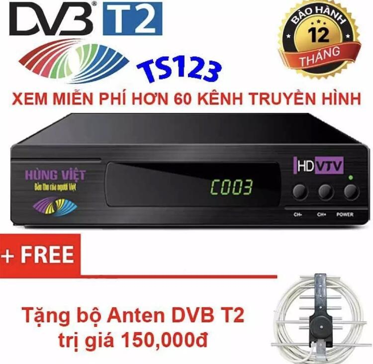 Hình ảnh Đầu thu kỹ thuật số DVB T2 HÙNG VIỆT TS 123 Internet KÈM ANTEN + 15M DÂY
