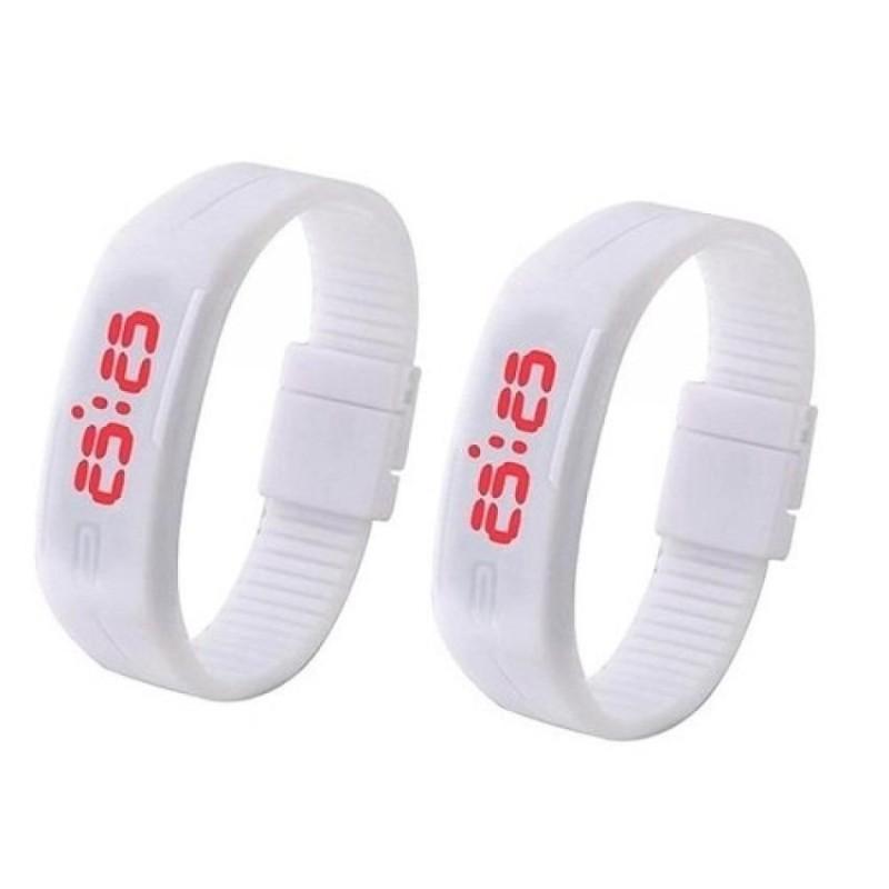 Nơi bán Bộ 2 đồng hồ LED silicon (trắng)