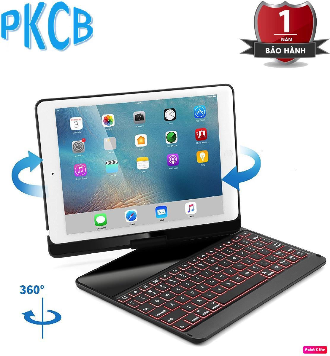 Giá Bàn phím Bluetooth kiêm ốp lưng cho iPad Pro 9.7  xoay 360 độ (Đen) hỗ trợ đèn bàn phím- PKCB