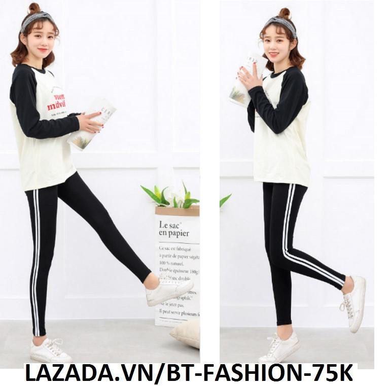 Quần Dài Nữ Thun Ôm Legging Thể Thao Thời Trang Hàn Quốc - BT Fashion (QTT01B2-2 SỌC)