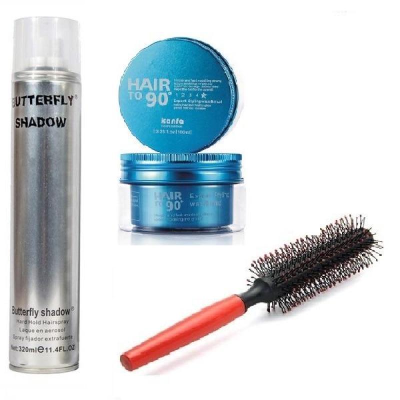 Combo x3 gồm sáp Kanfa Hair To 90 và gôm Butterfly (320ml) và Lược tròn tạo kiểu tóc giá rẻ