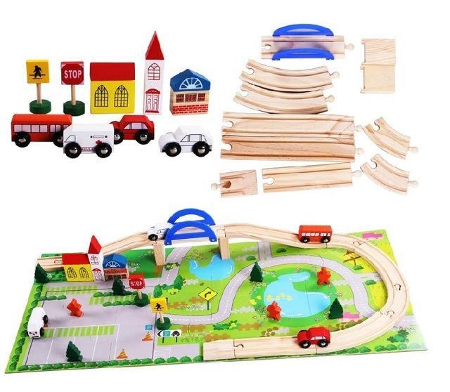 Hình ảnh Bộ đồ chơi ghép mô hình thành phố bằng gỗ cho bé phát triển sáng tạo