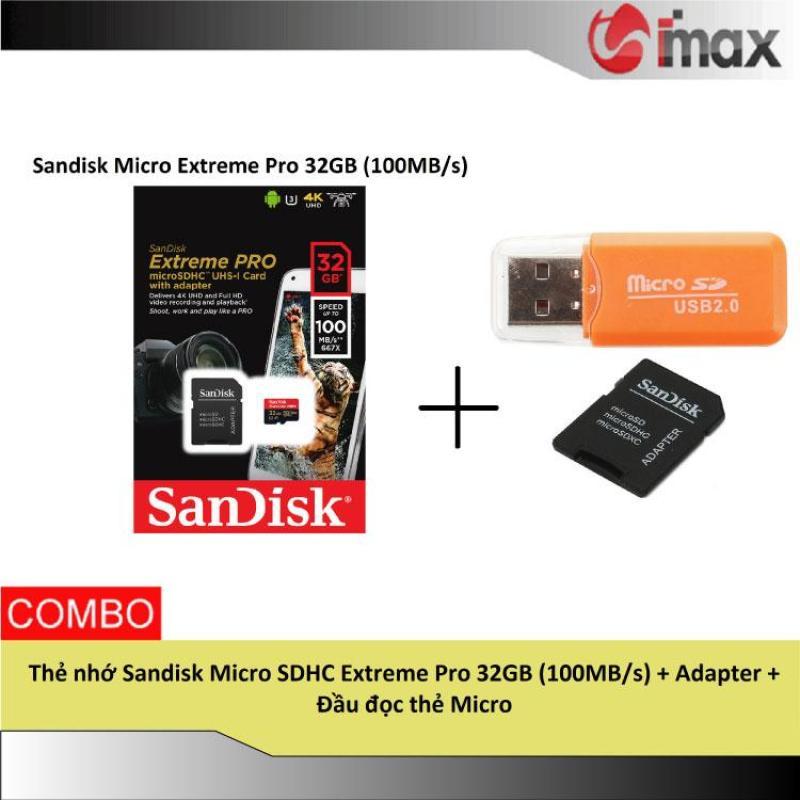 Thẻ nhớ Sandisk Micro SDHC Extreme Pro 32GB (100MB/s) + Adapter + Đầu đọc thẻ Micro