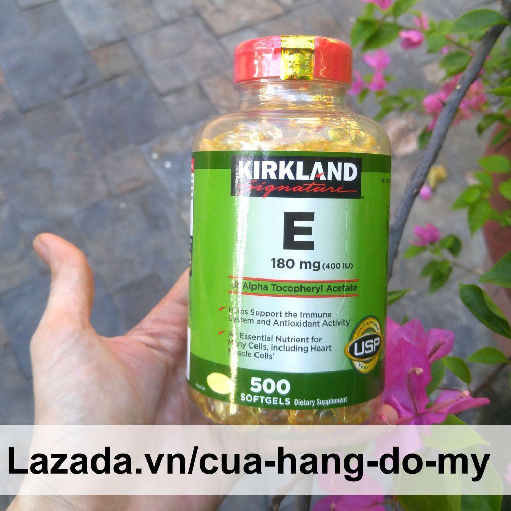 Viên uống Vitamin E Kirkland 180mg 400 IU 500 viên- mẫu mới nắp bật đỏ date lâu, giúp da đẹp mịn màng