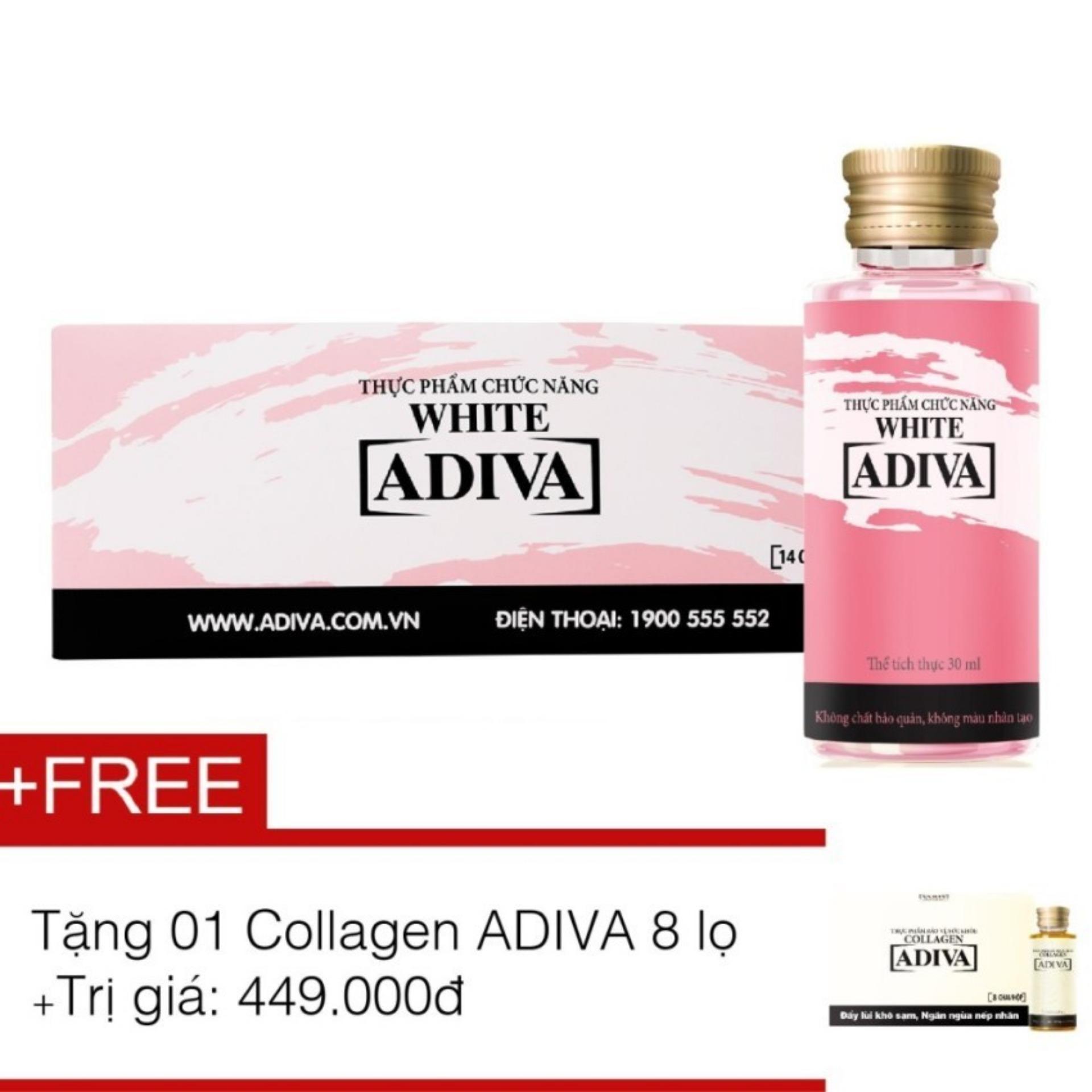 Hình ảnh Tinh chất làm trắng ADIVA White 14 chai x 30ml + Tặng tinh chất làm đẹp ADIVA Collagen 8 chai x 30ml