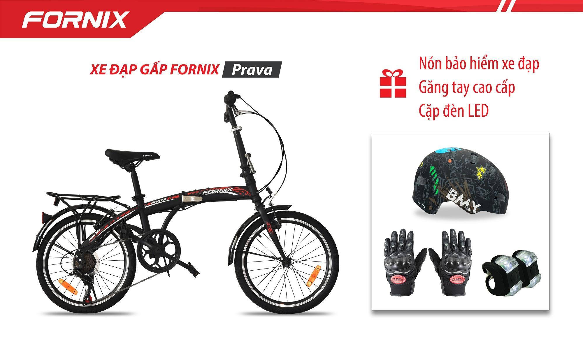 Xe đạp gấp hiệu FORNIX, mã PRAVA + (Gift) Cặp đèn LED, Nón Bảo Hiểm A02NC1, Găng tay
