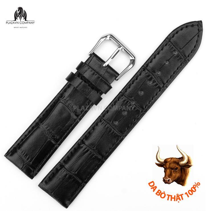 Nơi bán Dây đồng hồ da bò thật (size 22mm) có sẵn khóa không gỉ + Tặng chốt dây và thay dây