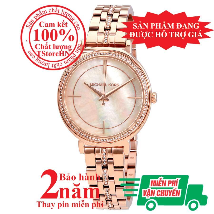 Nơi bán Đồng hồ nữ MK Cinthia MK3643, Vỏ, mặt và dây màu Vàng hồng (Rose Gold), mặt đồng hồ khảm trai, viền đá pha lê Swarovski, size 33mm-MK3643