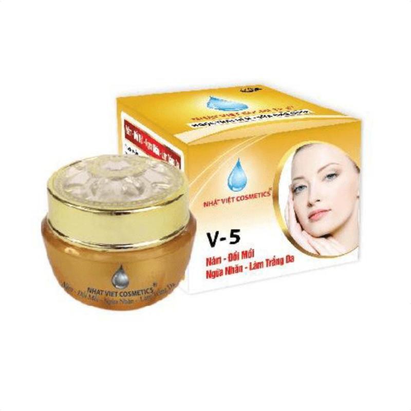 Kem Nhật Việt V5 Trị Thâm Nám, Chống Nhăn, Làm Trắng, Ngọc Trai Đen, Sữa Ong Chúa (12g) nhập khẩu