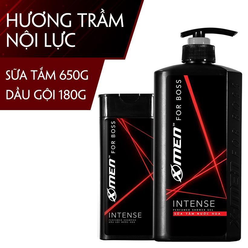 [Bộ đôi tiết kiệm] Combo Sữa tắm nước hoa X-Men for Boss Intense 650g + Dầu gội nước hoa Xmen for Boss Intense 180g nhập khẩu