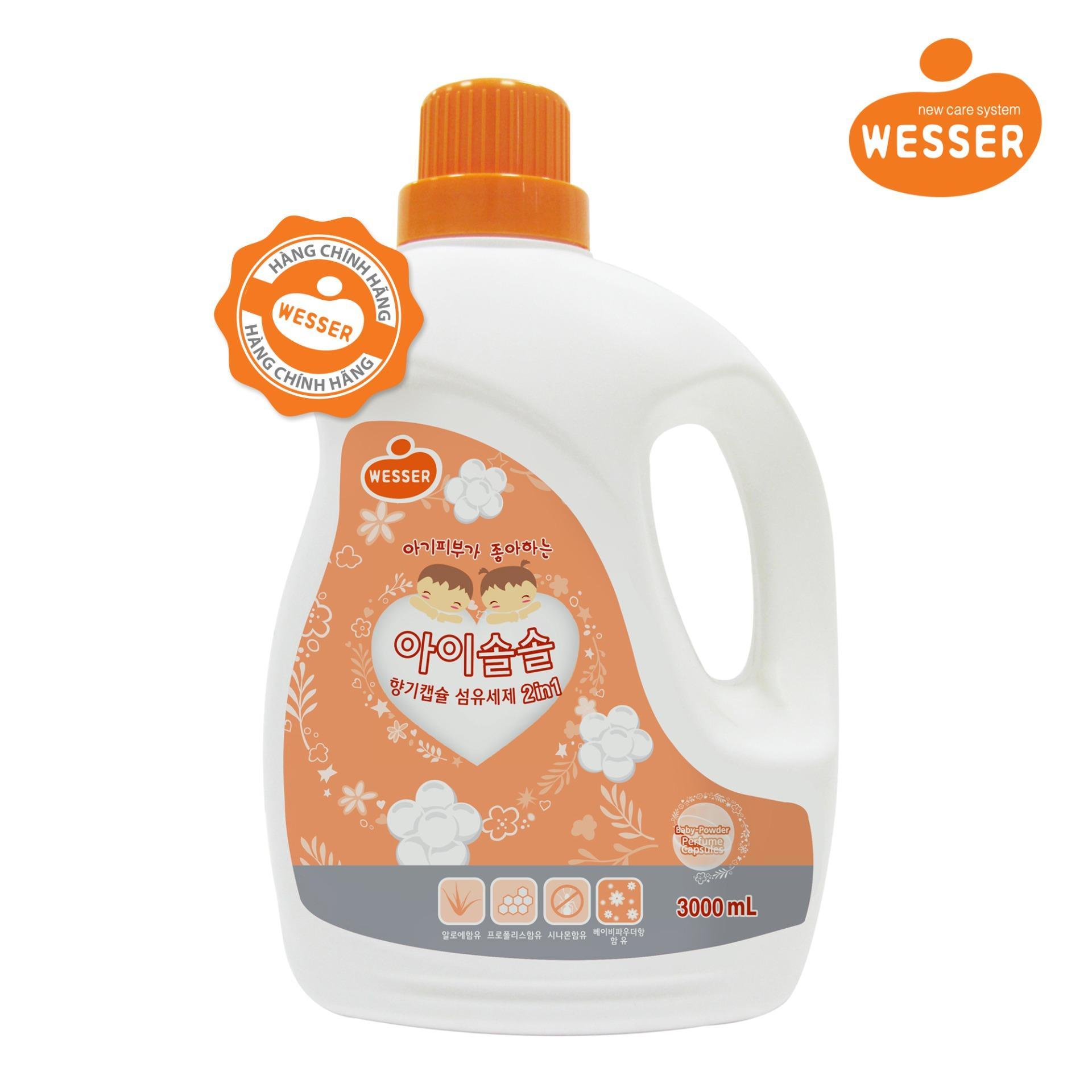 Nước giặt xả Wesser 2in1 hương phấn 3000ml (Màu cam,Hàng nhập khẩu)